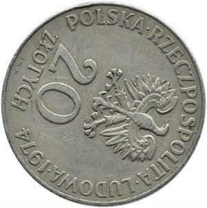Polska, PRL, 20 złotych 1974, XXX lat RWPG, destrukt - przesunięcie o 110 stopni