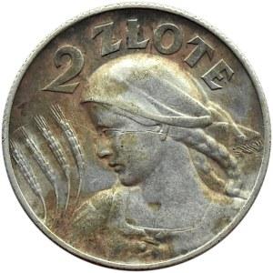 Polska, II RP, Kłosy, 2 złote 1925, Londyn, ładny egzemplarz