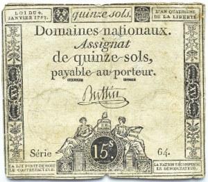 Francja, asygnata na 15 soli, seria 64
