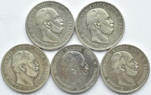 Niemcy, Prusy, Wilhelm I, lot 5 marek 1874-1876 A, Berlin