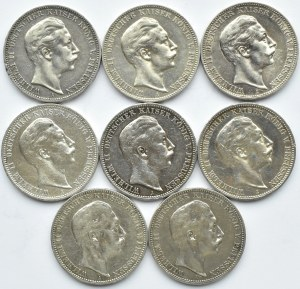 Niemcy, Prusy, Wilhelm II, lot ośmiu monet 3 marki 1908-1912 A, Berlin