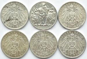 Niemcy, Prusy, Wilhelm II, lot sześciu monet 2 marki 1902-1913 A, Berlin