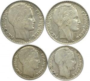 Francja, lot 4 srebrnych monet 1929-1938, Paryż