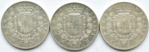 Włochy, Vittorio Emanuele II, lot 5 lirów 1871-74, Mediolan