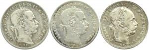 Austro-Węgry, Franciszek Józef I, zestaw 3 forintów bitych dla Węgier