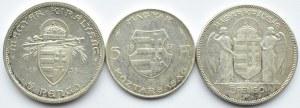 Węgry, lot srebrnych monet 1930-47, 3 sztuki