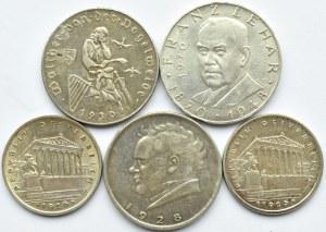 Austria, lot pięciu monet, 1925-1970, Wiedeń