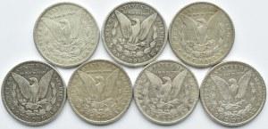 USA, Morgana, lot 1 dolar 1889-1921, różne mennice, 7 sztuk