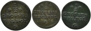 Stanisław A. Poniatowski, lot trzech monet, 1/2 grosza 1766-68 G, Kraków