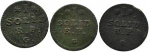 Stanisław A. Poniatowski, lot trzech szelągów 1768 G, Kraków, różne odmiany