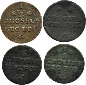 Stanisław A. Poniatowski, lot czterech monet, 1/2 grosza 1766-68 G, Kraków/Warszawa