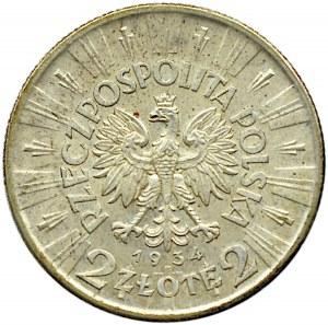 Polska, II RP, J. Piłsudski, 2 złote 1934, piękne