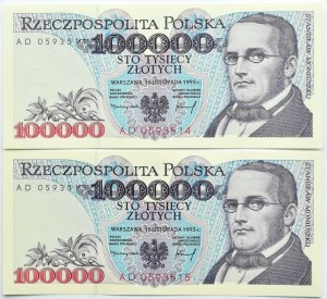 Polska, III RP, 2 X 100 000 złotych 1993, seria AD, UNC, kolejne numery
