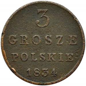 Mikołaj I, 3 grosze 1834 I.P., Warszawa