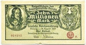 Wolne Miasto Gdańsk, 10 milionów marek 1923, seria A, bardzo ładny, odwrócony napis