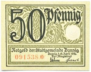 Wolne Miasto Gdańsk, 50 fenigów (pfennig) 1919, kolor zielony, UNC