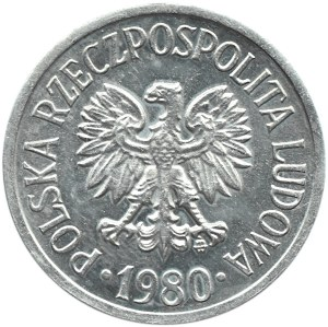 Polska, PRL, 20 groszy 1980, Warszawa, proof-like