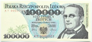Polska, 100000 złotych 1990, seria AT, Warszawa, UNC numer 0000...