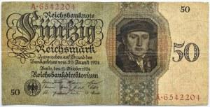 Niemcy, Republika Weimarska, 50 marek 1924, seria A/D, rzadkie