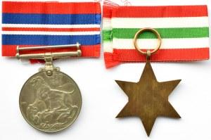 Polska, 2 Korpus, Medal Obrony (1939-45) i Gwiazda Italii, wstążki, oryginalne pudełko