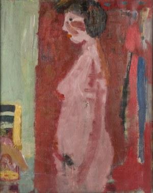Artur Nacht-Samborski (1898 Kraków - 1974 Warszawa), Akt stojący kobiety na czerwonym tle, ok. 1960
