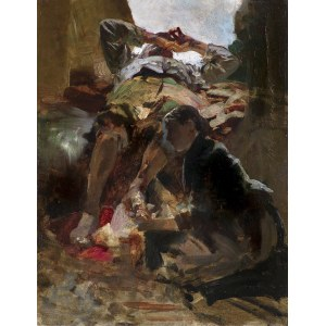 Malczewski Jacek, SCENA SYBIRSKA. UMYWANIE NÓG, 1890