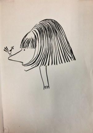 Halina Wrzeszczyńska (1929-2018) JA grafika karykatura tusz 34x23,5cm