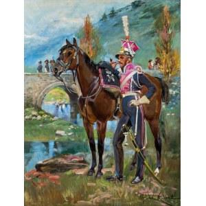 Wojciech Kossak (1856 Paryż - 1942 Kraków), Napoleon pod Somosierrą, 1927 r.