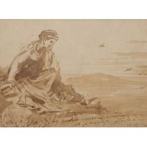 Tadeusz Rybkowski (1848 Kielce – 1926 Lwów), przypisywany, Zamyślona dziewczyna, ok. 1879 r.