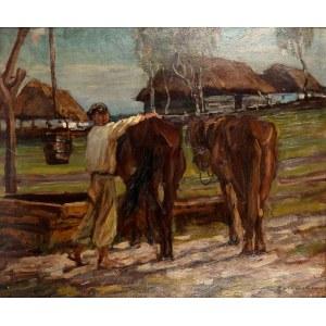 Jan Erazm Kotowski (1885 Opatkowiczki k. Pińczowa - 1960 Milanówek), U wodopoju, 1922 r.