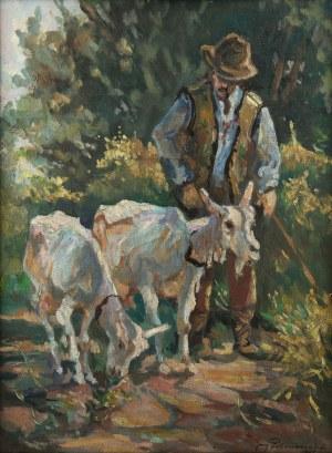 Jerzy Potrzebowski (1921 Sandomierz – 1974 Kraków), Góral z kozami, 1947 r.