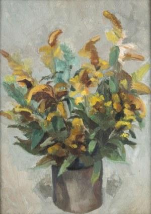 Ludwik Lille (1897 Podwołoczyska - 1957 Paryż), Żółte kwiaty w donicy