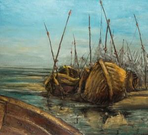 Grodecki (1 poł. XX w.), Łodzie na brzegu, 1983 r.