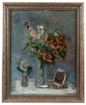 Rajmund Kanelba (1897 Warszawa - 1960 Londyn), Martwa natura z kwiatami i fotografią, 1933 r.