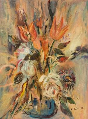 Ludwik Klimek (1912 Skoczów - 1992 Nicea), Kwiaty w niebieskim wazonie