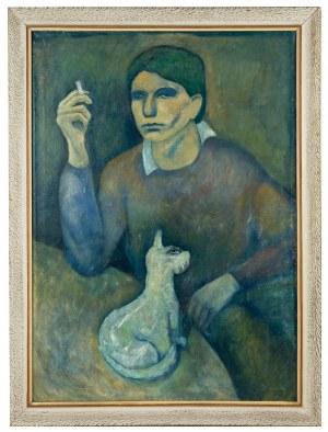 Roman Zakrzewski (1955-2014), Portret własny artysty z kotem, 1979 r.