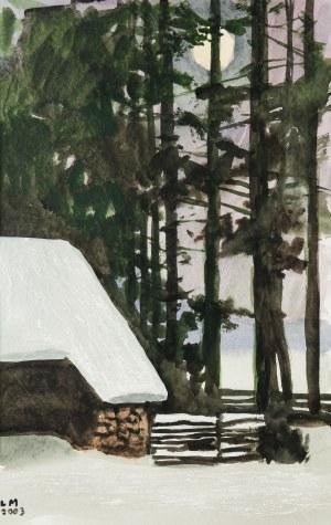 Ludwik Maciąg (1920 Kraków - 2007), Pejzaż zimowy z chatą, 2003 r.
