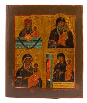 Ikona - cztery wyobrażenia Matki Boskiej, Rosja, II poł XIX w.