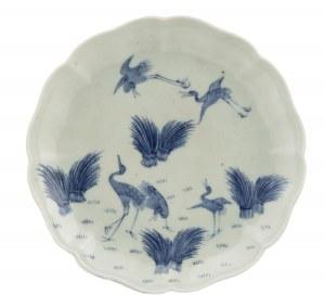 Talerz z żurawiami, Arita, Japonia, pocz. XIX w.
