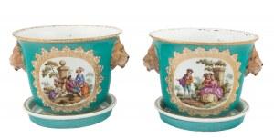 Para cache-pots z 4 miniaturami w typie Watteau, Miśnia, II poł. XIX w.