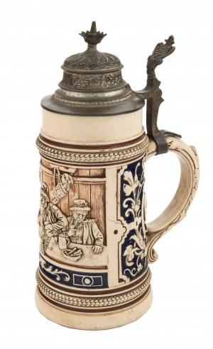 Duży kufel do piwa za sceną w karczmie, Niemcy, k. XIX w.