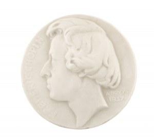 Antoine Bovy (1795-1877 Genewa), Plakieta z wizerunkiem Fryderyka Chopina, Polska, ok. poł. XX w.