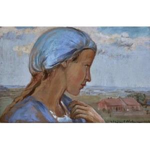 Wlastimil Hofman (1881-1970), Dziewczyna w błękitnym czepku, 1923