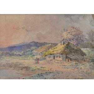 Seweryn Bieszczad (1852-1923), Pejzaż z chatami