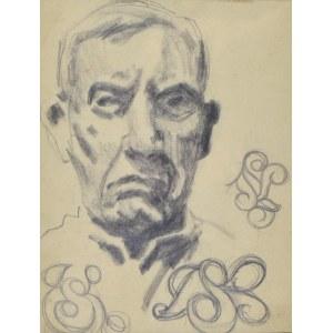 Stanisław Kamocki (1875-1944), Autoportret ze szkicami monogramu SK