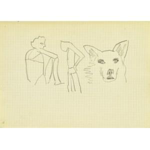 Jerzy Panek (1918-2001), Postać siedząca, stojąca, głowa psa