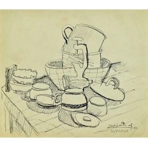 Kazimierz Podsadecki (1904 - 1970), Martwa natura z naczyniami kuchennymi i maszynką do mielenia mięsa, 1939