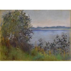 Władysław Serafin (1905-1988), Pejzaż z jeziorem, 1951 (?)