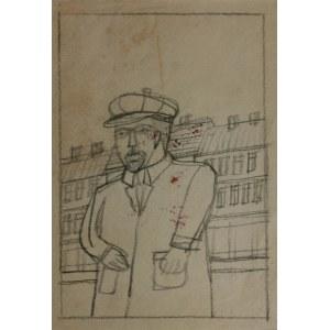 Nikifor KRYNICKI (1895-1968), Portret mężczyzny na tle miasteczka
