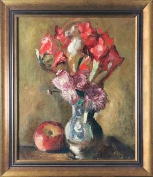 Manuel Ortiz de ZARATE (1886-1946), Martwa natura z kwiatami w wazonie i jabłkiem, 1946